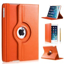 iPadspullekes.nl iPad 2018 hoes 360 graden oranje leer