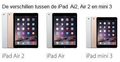 Wat zijn de verschillen tussen de iPad Air , Air 2 en de iPad mini 3