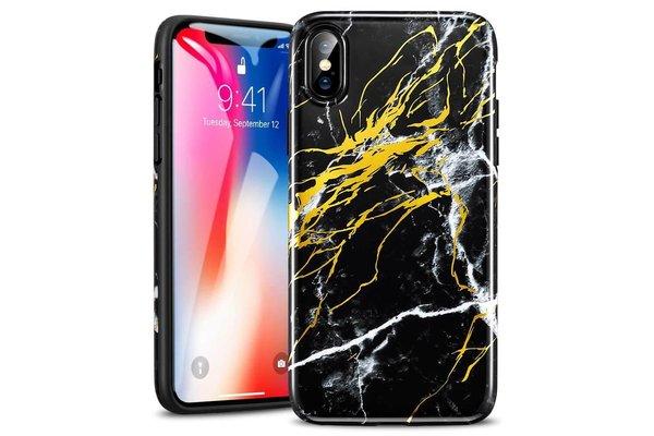 ESR iPhone X hoes Marmer zwart goud zacht TPU
