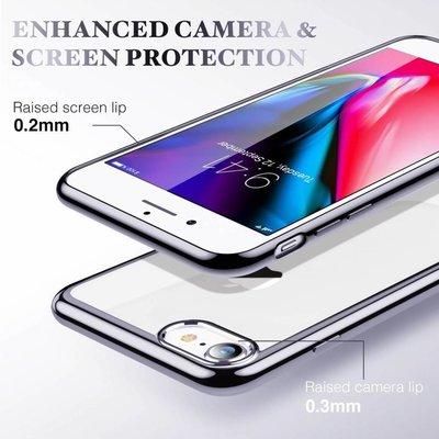 ESR iPhone 8 Plus hoesje ultradun galvanische zwarte zijkant zacht TPU