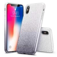 ESR iPhone X hoes zilver naar zwarte glitters chique design zacht TPU
