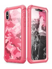 i-Blason iPhone X hoes bescherming met ingebouwde screenprotector camouflage Roze