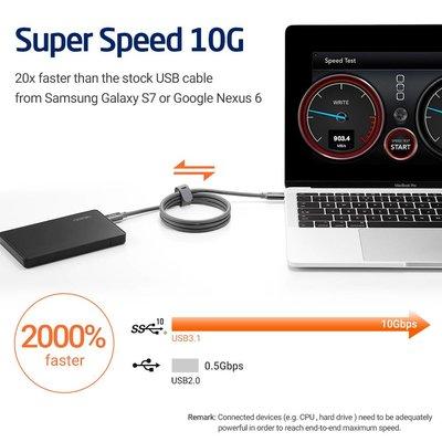 ESR USB C naar USB C 3.1 kabel 1 meter Grijs