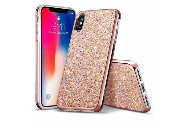 ESR iPhone XS hoes roze glinsters chique design zacht