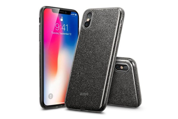 ESR iPhone XS hoes zwarte glitters chique design zacht TPU
