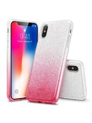 ESR iPhone XS hoes zilver naar roze glitters chique design zacht TPU
