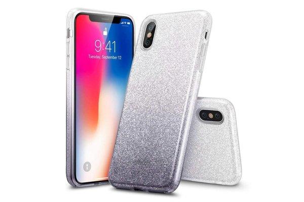 ESR iPhone XS hoes zilver naar zwarte glitters chique design zacht TPU