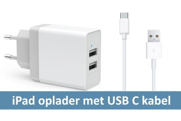 iPadspullekes.nl Oplader met USB C kabel (iPad Air 2020, Pro 11, Pro 12,9 (2018, 2020)