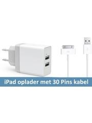iPadspullekes.nl Oplader met 30 pins kabel (iPad 1, 2 , 3 (grote aansluiting)
