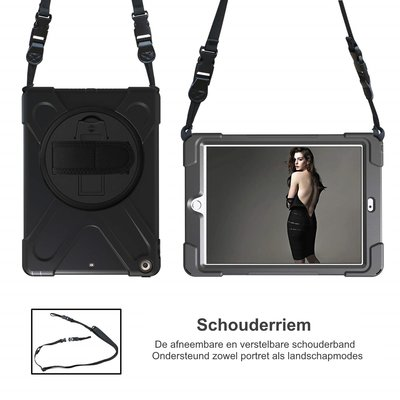 iPadspullekes.nl iPad 2018 Protector Hoes met handvat en schouderriem en standaard