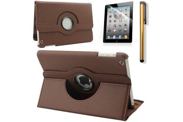 iPadspullekes.nl iPad Mini 5 hoes 360 graden leer bruin