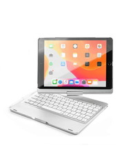 iPadspullekes.nl iPad 2020 10.2 Inch  toetsenbord draaibare case zilver