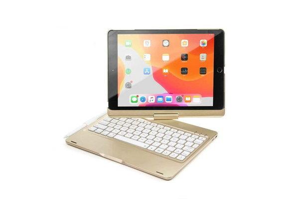 iPadspullekes.nl iPad 2020/2021 10.2 Inch toetsenbord draaibare case goud