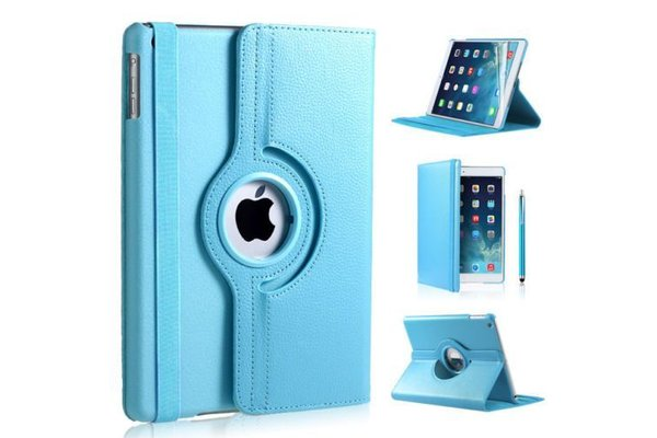 iPadspullekes.nl iPad hoes 360 graden licht blauw leer