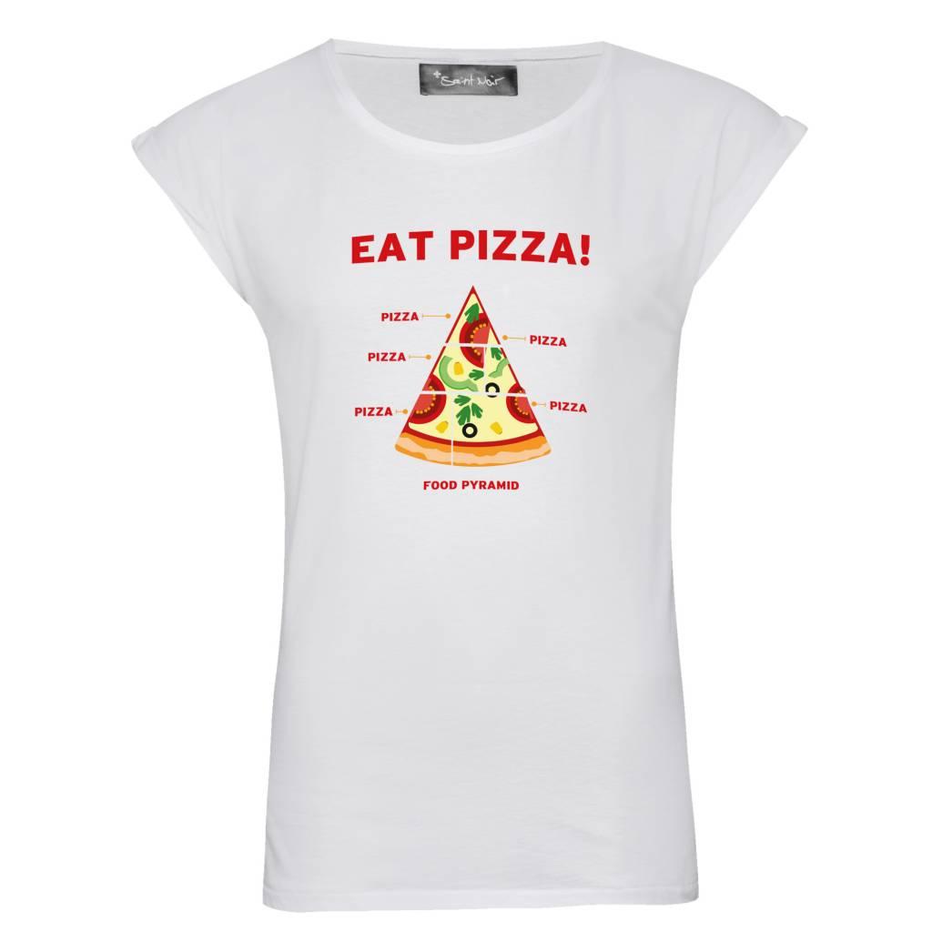 T-Shirt Rolled Sleeve Damen - Pizza