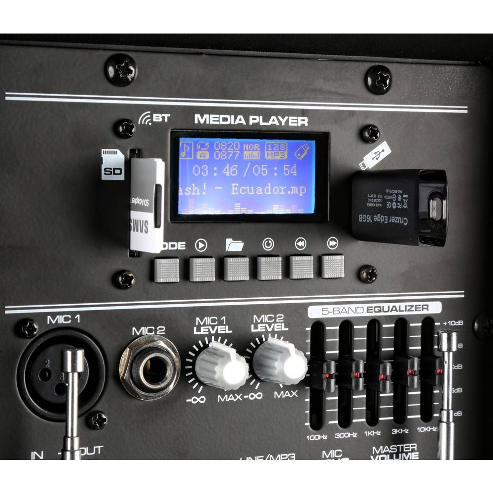 """Vonyx VonyxSPJ-PA912 Mobiele Geluidsinstallatie ABS 12"""" 2 UHF/USB/MP3"""