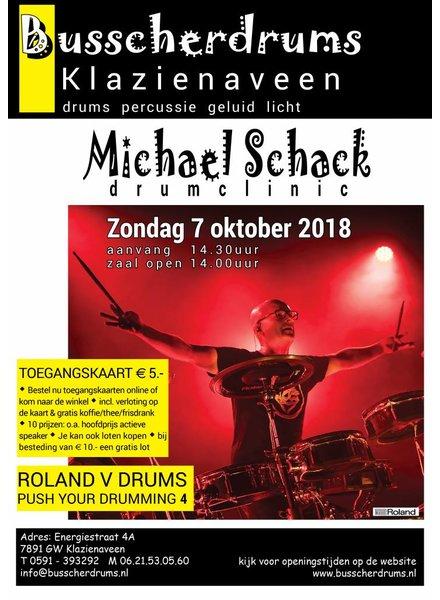Busscherdrums Ticket card Drumclinic Michael Schack Sunday 7 October 2018