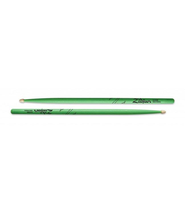 Zildjian Z5AACDGG Drumsticks, Hickory Wood Tip 5A Acorn, neon green