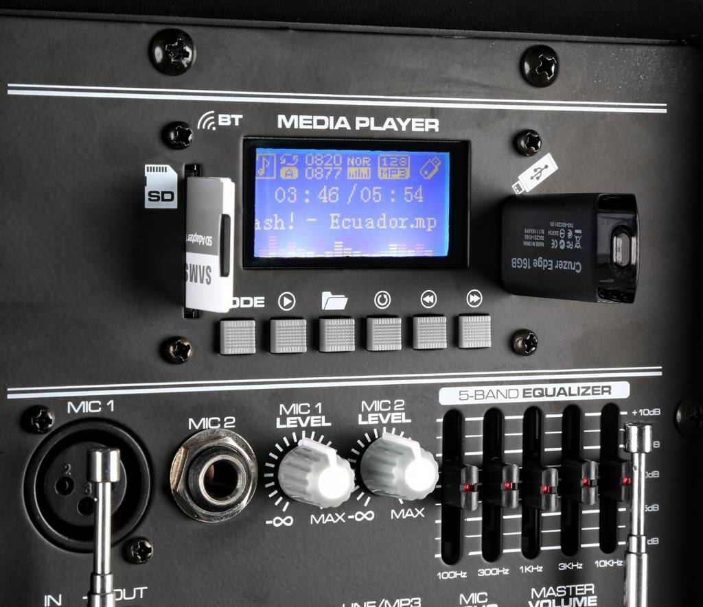 "Vonyx AP1200PA Mobiele Speaker met Accu 12"" Bluetooth/USB/SD/Mp3/VHF 170.334"
