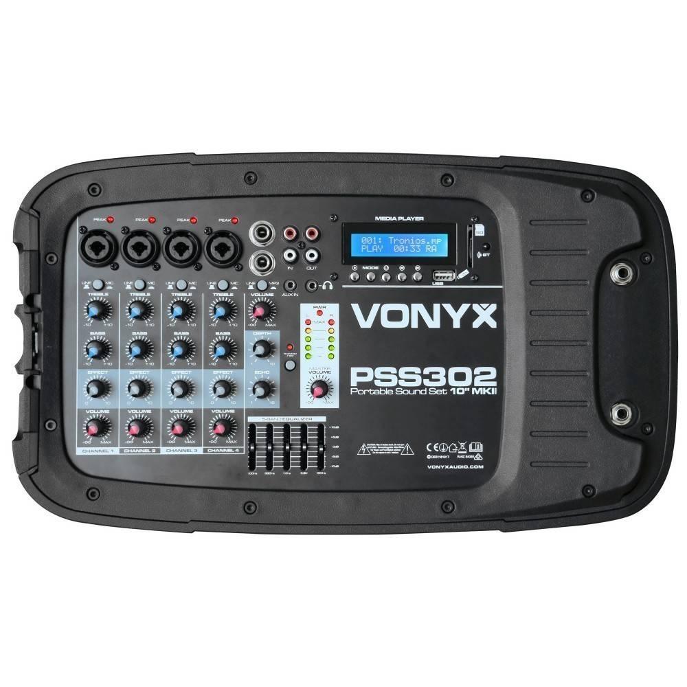 "VONYX PSS302 Mobiele Geluidset 10"" SD/USB/MP3/BT met Standaards"