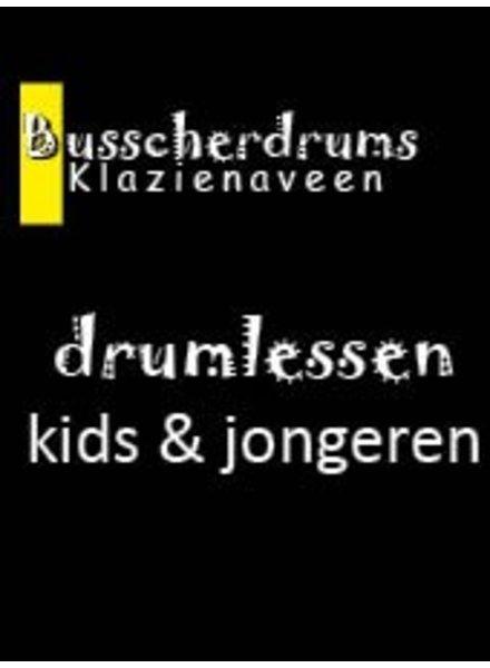 Busscherdrums Drumlessen maandkaart 20 minuten wekelijks jongeren 101