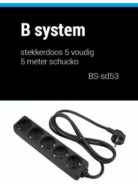 B System 3m Socket 5 fold power supply 3 meter BS-SD53