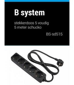 B System 1.5m Stekkerdoos 5 voudig voeding 1.5 meter BS-SD515