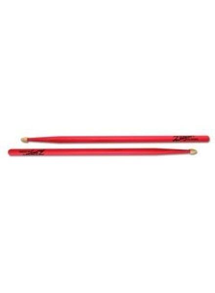 Zildjian 5ACWDGP Drumsticks, Hickory Wood Tip series, 5A Acorn, neon pink