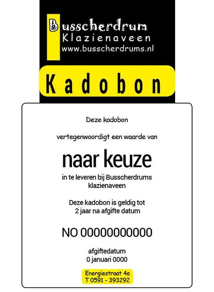 B System Busscher Drums Gift Certificate € 50.- - Copy