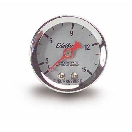 Edelbrock Gauge Fuel Pressure, 0-15 psi, 1 1/2 in., Analog