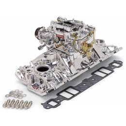 Edelbrock Manifold and Carb Kit, Performer EPS, Small Block Chevrolet, 1957-1986, Natural Finish