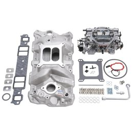 Edelbrock Manifold and Carb Kit, Performer RPM, Small Block Chevrolet, 1957-1986, Natural Finish