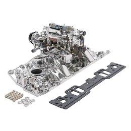 Edelbrock Manifold and Carb Kit. Performer RPM. Small Block Chevrolet. Vortec. EnduraShine? Finish.