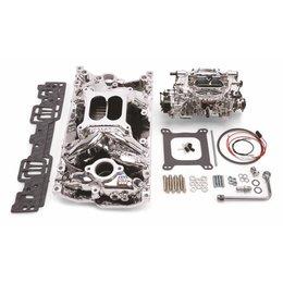 Edelbrock Manifold and Carb Kit. Performer RPM. Air-Gap. Small Block Chevrolet. Vortec. EnduraShine? Finish.