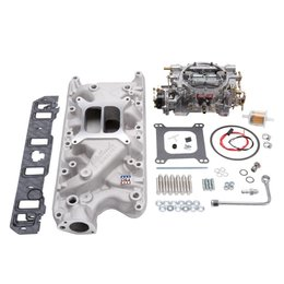 Edelbrock Manifold and Carb Kit, Performer, Small Block Ford, 289-302, Natural Finish
