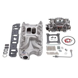 Edelbrock Manifold and Carb Kit, Performer RPM, Small Block Ford, 289-302, Natural Finish