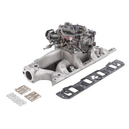 Edelbrock Manifold and Carb Kit, Performer RPM, Air-Gap, Small Block Ford, 289-302, Natural Finish
