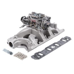 Edelbrock Manifold and Carb Kit, Performer RPM, Air-Gap, Small Block Ford, 351W, Natural Finish