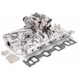 Edelbrock Manifold and Carb Kit. Performer RPM. Ford FE. EnduraShine? Finish.