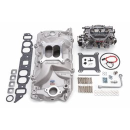 Edelbrock Manifold and Carb Kit, Performer RPM, Big Block Chevrolet, Oval Port, Natural Finish