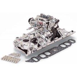 Edelbrock Manifold and Carb Kit. Performer RPM. Air-Gap. Big Block Chevrolet. Oval Port. EnduraShine? Finish.