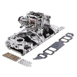 Edelbrock Manifold and Carb Kit. Performer RPM. Air-Gap. Big Block Chevrolet. Rectangular Port. EnduraShine? Finish.