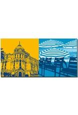 ART-DOMINO® BY SABINE WELZ Nizza - Negresco + Stühle/Sonnenschirme an der Promenade des Anglais