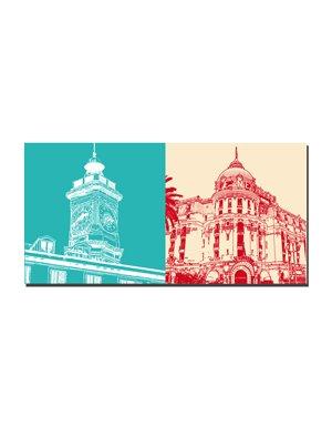ART-DOMINO® BY SABINE WELZ Nizza - Turm Saint Francois + Negresco