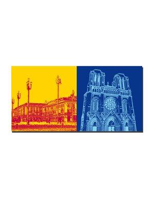 ART-DOMINO® BY SABINE WELZ Nizza - Place Masséna + Basilisque Notre-Dame de Nice