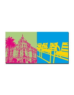 ART-DOMINO® BY SABINE WELZ Nizza - Negresco + Stühle an der Promenade des Anglais