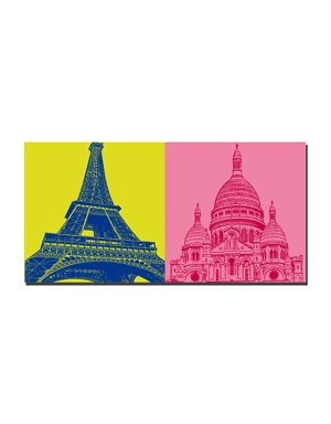 ART-DOMINO® by SABINE WELZ Paris - Eiffel Tower + Sacré-Coeur
