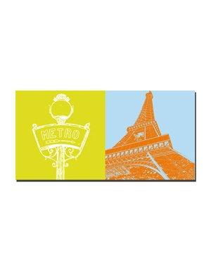 ART-DOMINO® BY SABINE WELZ Paris - Signe du métro + Tour Eiffel
