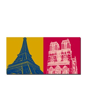 ART-DOMINO® BY SABINE WELZ Paris - Eiffelturm  + Notre Dame