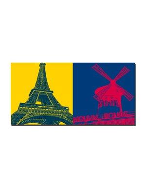 ART-DOMINO® BY SABINE WELZ Paris - Eiffelturm + Moulin Rouge